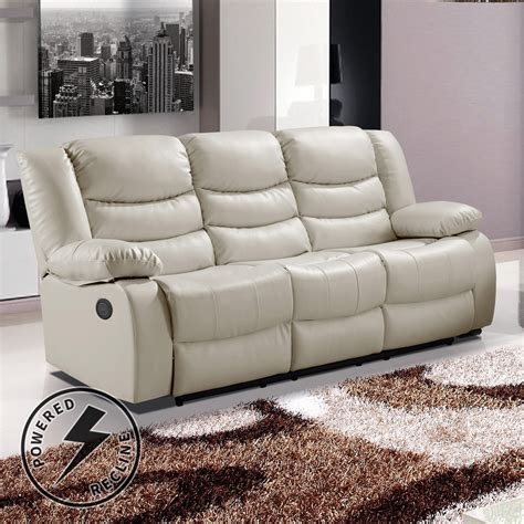 Leather Sofas With Recliners by Belfast Ivory Premium Bonded Leather Electric