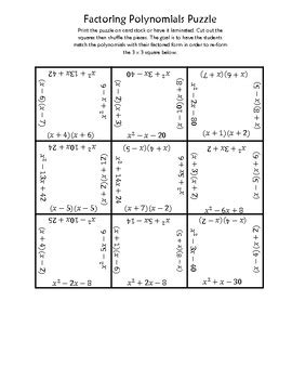 factoring polynomials square puzzle by jaquelyn wolford tpt