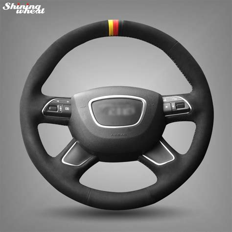 shining wheat hand stitched black suede steering wheel