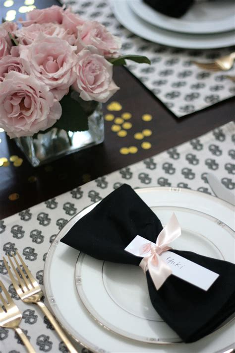 black and white dinner table setting dinner party table black white pink gold erika brechtel