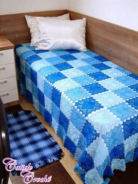 blue lace crochet squares bedspread crochet kingdom
