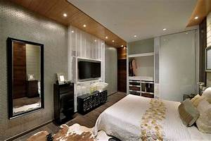 Bedroom: Bedding And Cowhide Area Rug With Bedroom Tv Unit ...