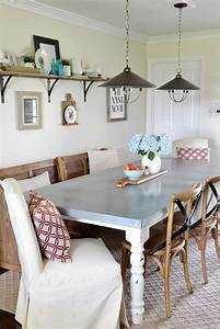 dining room transformation with traci of beneath my heart With dining room table with bench against wall