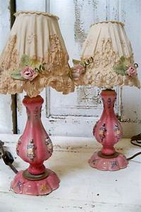 Shabby chic pink lamp set with embellished shades vintage for Vintage shabby chic lighting