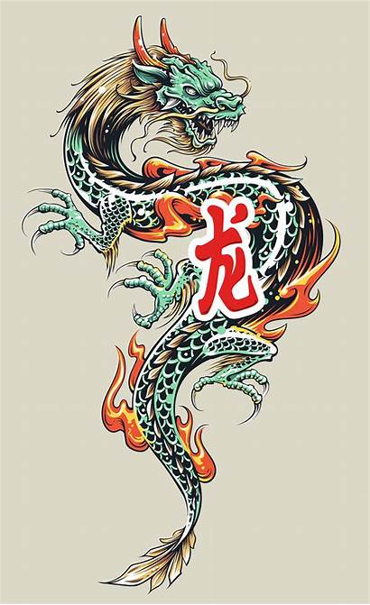 Dragon Tattoo Vector Asian Illustration Vectors Dragons
