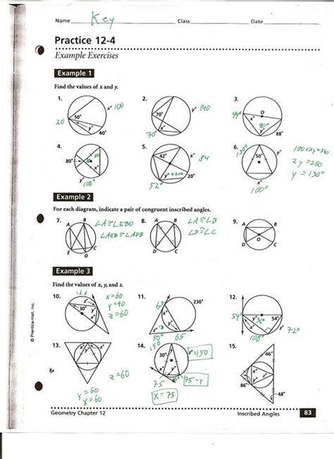 central and inscribed angles worksheet answers match