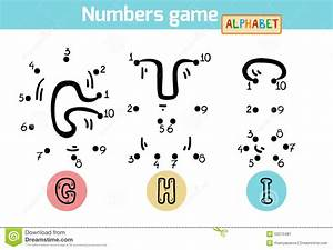 numbers game alphabet letters g h i stock vector With letters and numbers game