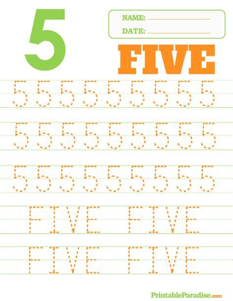 printable number 5 tracing worksheet teacher ideas