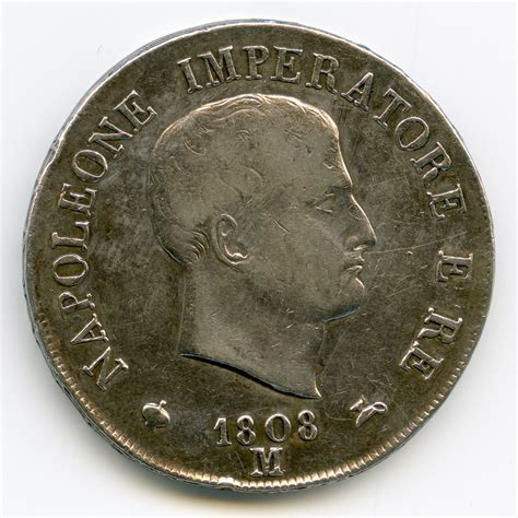 m ier bureau d ude italie napoléon ier 5 lire 1808 m