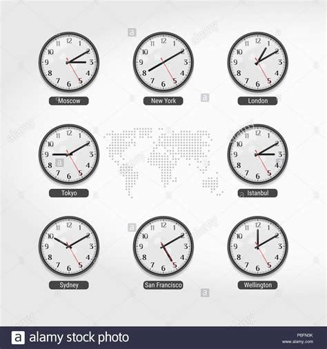 world time clocks current time famous world cities hotel stock
