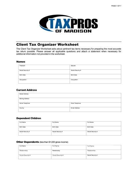 8 Best Images Of Tax Preparation Organizer Worksheet  Individual Income Tax Organizer, Business