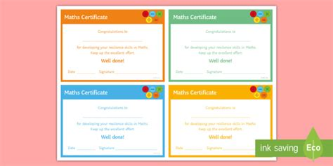 maths resilience certificate rewards learning