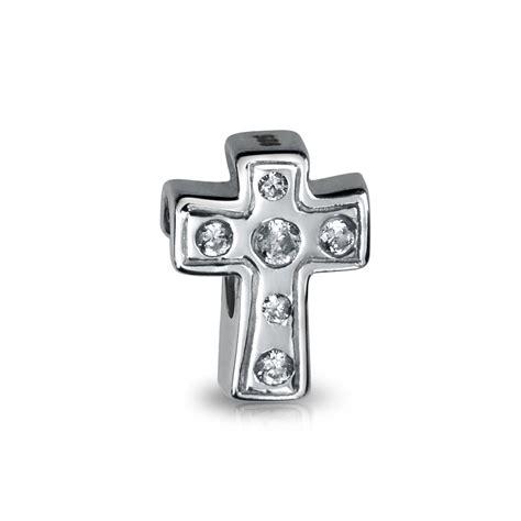 dainty cross religious white cz heart charm bead  women