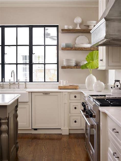 kitchen  wood floating shelves transitional kitchen