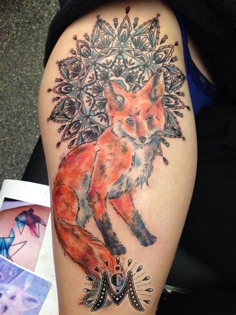 guerramarzwatercolor fox  mandala watercolor fox mandala