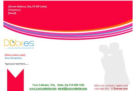 wedding letterhead template red theme dotxes