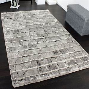 edler designer teppich mit steinwand optik in grau schwarz With balkon teppich mit tapeten 3d steinoptik