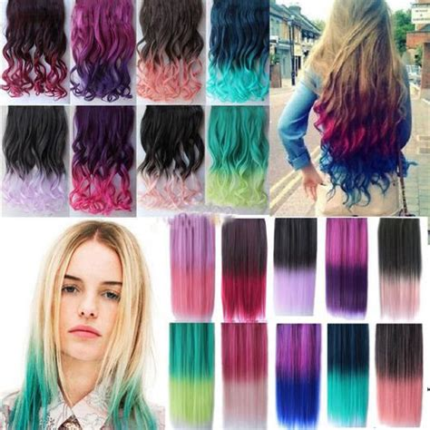 Top Fashion New 20 Colors Rainbow Women Hair Extensions