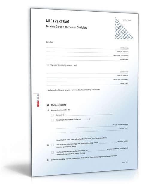Vermietung Garage Steuer by Mietvertrag F 252 R Eine Garage Oder Einen Stellplatz