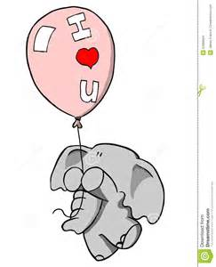 Cartoon Elephant Holding Balloon