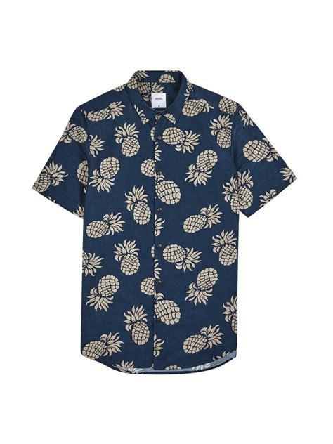 Print Sleeve Shirt navy sleeve large pineapple print shirt shirts