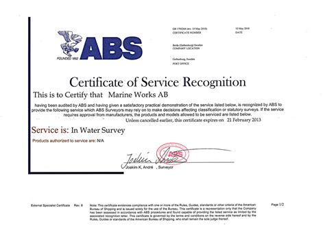 abs bureau of shipping our certifications