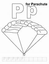 Parachute Coloring 1089 6kb sketch template