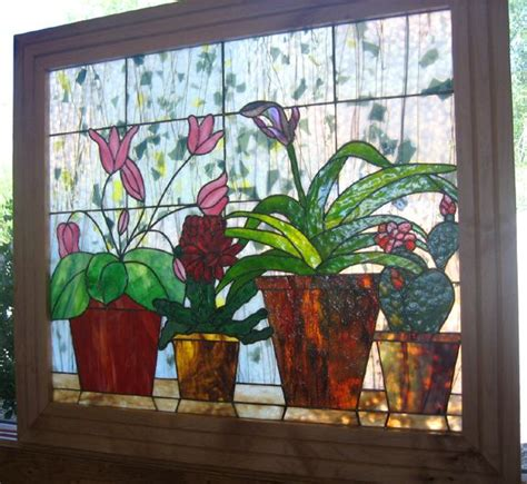 Window Potted Plants by Large Stained Glass Panel Depicting Potted Plants On A