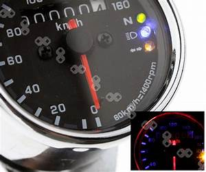 Motorcycle Led Background Light Dual Odometer Speedometer