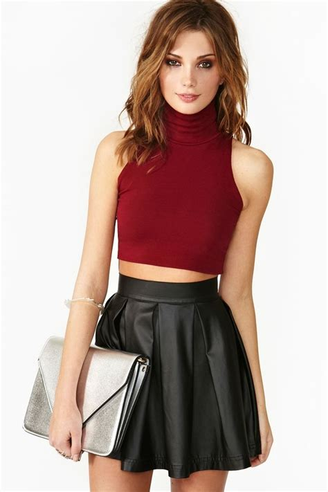 Top 5 Christmas Party Outfits   Skater skirt Leather skater skirts and Leather