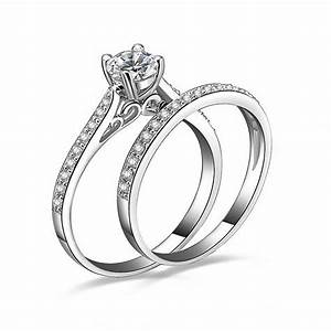 2pcs women wedding engagement ring set gemstone white gold With white gold plated wedding rings