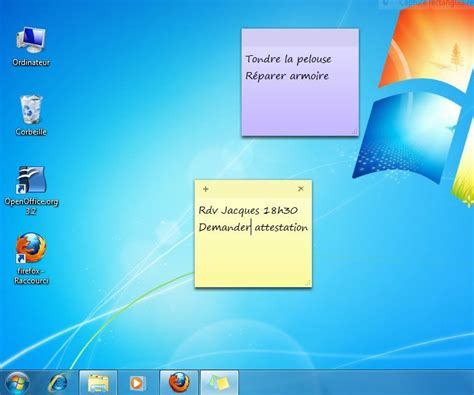 image bureau windows 7 afficher des post it sur un ordinateur windows 7 lecoindunet