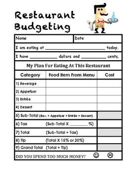 this is a budgeting worksheet for trips to restaurants in