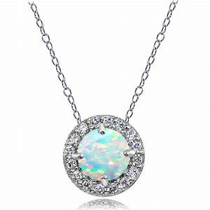 Sterling Silver Created White Opal and White Topaz Round ...