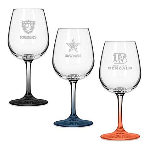 nfl team logo satin etched wine glasses set   www