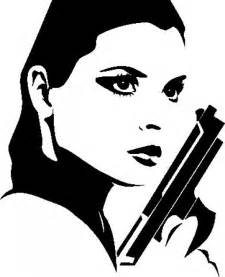 Free Woman Silhouette with Gun