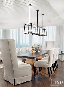 In this stunning dining room three holly hunt light for Lighting for over dining room table