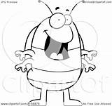 Pillbug Cartoon Coloring Standing Happy Clipart Outlined Vector Thoman Cory Royalty sketch template