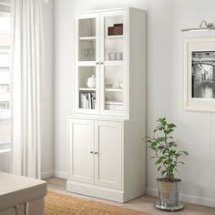 ikea hemnes white stained clear glass storage combination