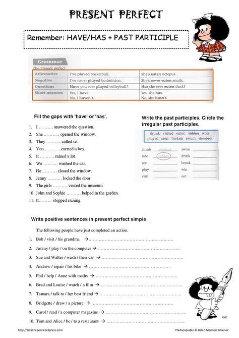 Present Perfect Tense Printable Worksheet  Google Search