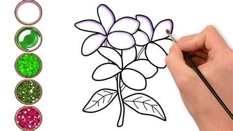 Glitter Jasmine Flower Coloring And Drawing Learn Colors