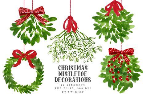 mistletoe christmas clip art by swiejko on creativemarket