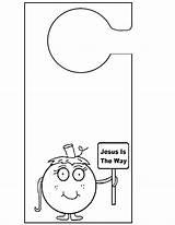 Door Template Sign Knob Doorknob Pumpkin Hangers Hanger Way Sunday Knobs Jesus sketch template