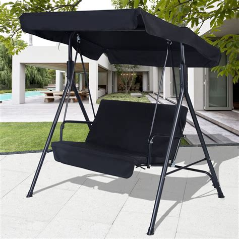 black outdoor patio swing canopy awning yard furniture