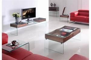 Meuble Tele En Bois : meuble t l glasgow en verre et bois meuble tv pas cher ~ Melissatoandfro.com Idées de Décoration