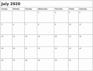 July 2020 Month Calendar