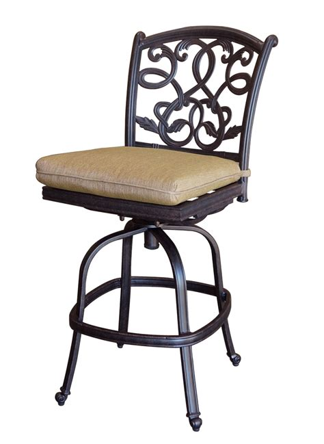 patio furniture bar stool swivel cast aluminum armless