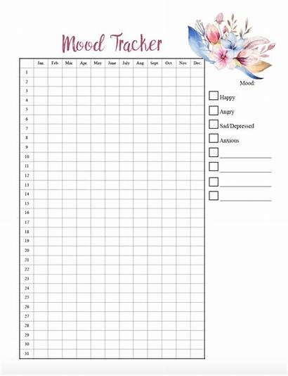 Mood Tracker Printable Charts Yearly Colors