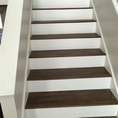 Luxury Vinyl Plank On Stairs With White Risers Vinyl