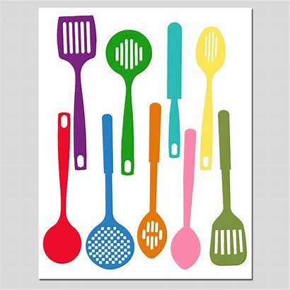 Utensils Silhouette Kitchen Cooking Clipart Spatula Colorful